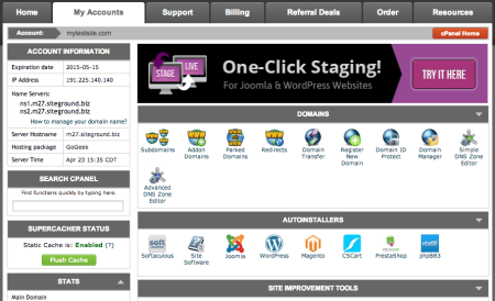 SIteGround Review | cPanel