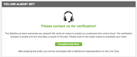 SiteGround Hosting Review | Confirm Billing