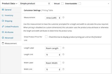 WooCommerce measurement price calculator enter labels