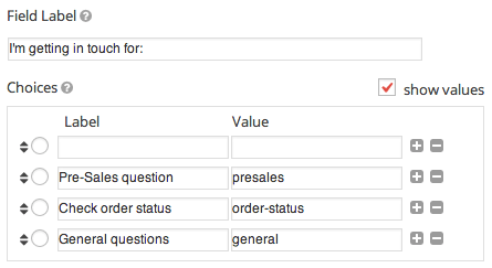 Gravity Forms Set Option Values