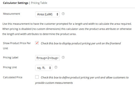 WooCommerce measurement price calculator per unit price