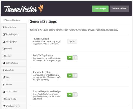 WooCommerce theme salient settings