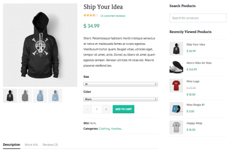 WooCommerce theme Total product page