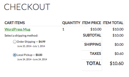 Shopp Checkout Select Shipping