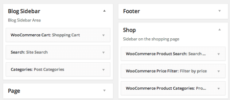 WooCommerce themes| Zeon widget areas