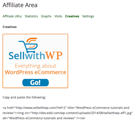 AffiliateWP Review   Creatives Tab