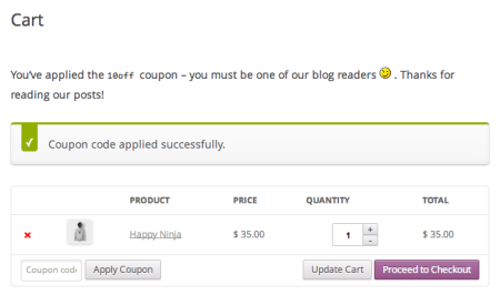 Coupon Applied Message