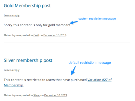 WooCommerce Easy Content Restriction | Restriction messages