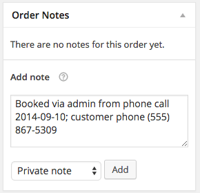 Manual WooCommerce Booking notes