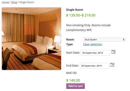 WC Booking Hotel Room Product