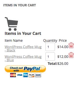 WordPress Simple PayPal Shopping Cart | cart widget