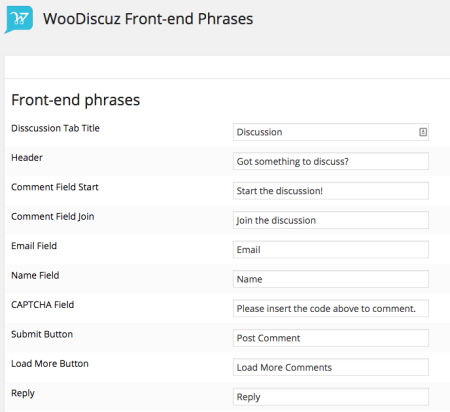 WooDiscuz Review | Phrase settings