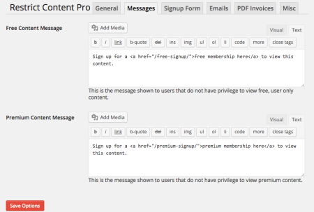 Restrict Content Pro Review: messages