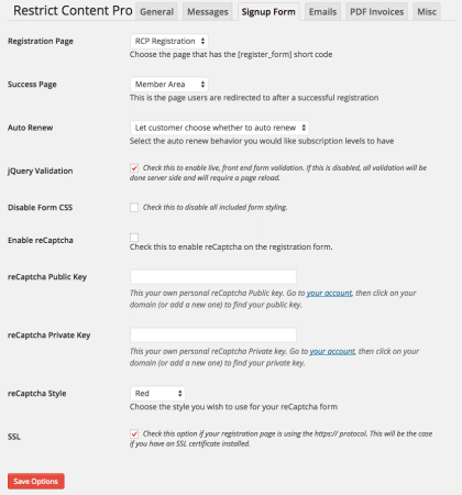 Restrict Content Pro Review: registration settings