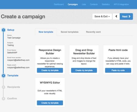 SendinBlue Review (AWeber alternative): campaign setup