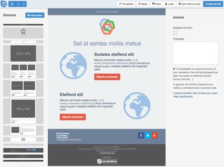 SendinBlue Review (AWeber alternative): template editor