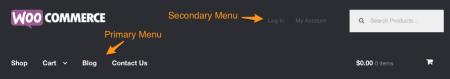 WooCommerce theme Storefront menus