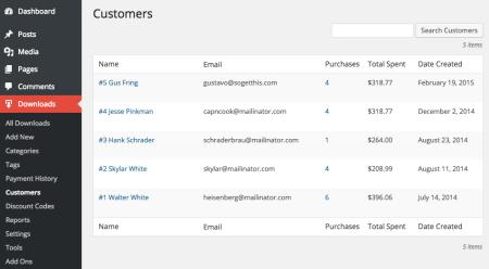 Easy Digital Downloads 2.3 Review | 2.3 customer list