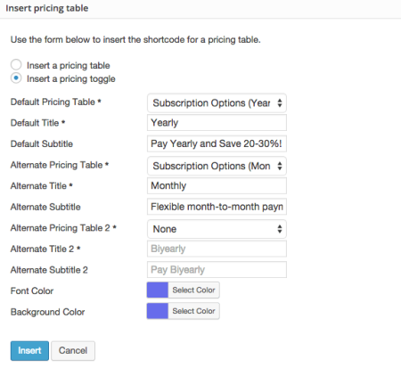 Easy Pricing Tables Toggle