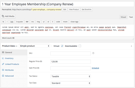 Group Memberships with WooCommerce: member simple product