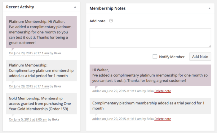 WooCommerce Memberships Review: member notes