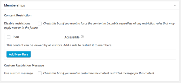 WooCommerce Memberships Review: content meta  box