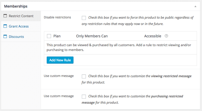WooCommerce Memberships Review: product meta  box