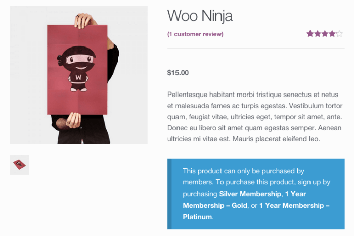 WooCommerce Memberships Review: product restricted notice