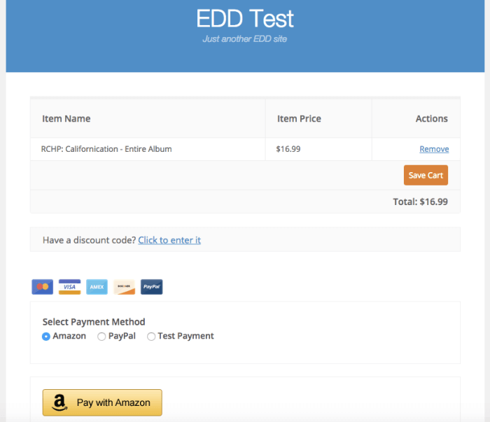 Easy Digital Downloads 2.4 Review: amazon checkout