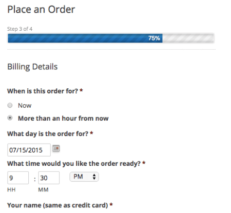 Online Ordering: billing