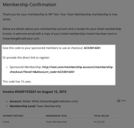 Paid Memberships Pro Sponsored membership code