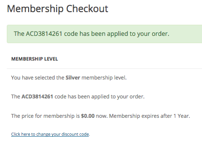 Paid Memberships Pro sponsored membership granted