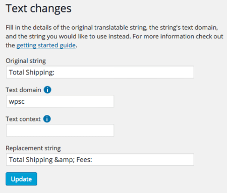 WP eCommerce change cart fee label