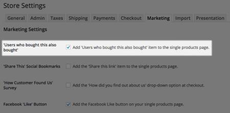 WP eCommerce marketing settings