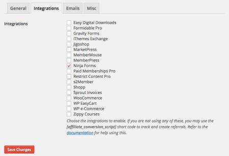 AffiliateWP Ninja Forms integration