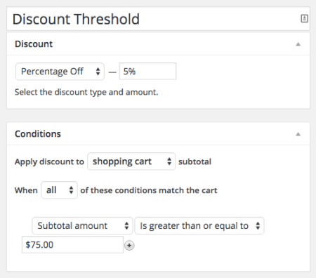 Shopp Create Discount Threshold