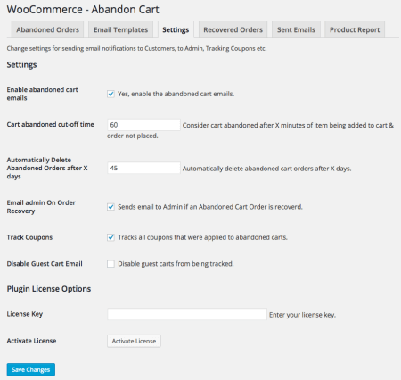 WooCommerce abandoned cart pro settings