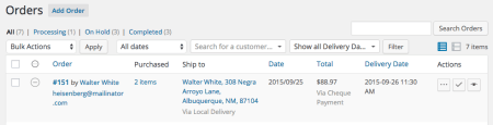 WooCommerce Order Delivery Date Orders List