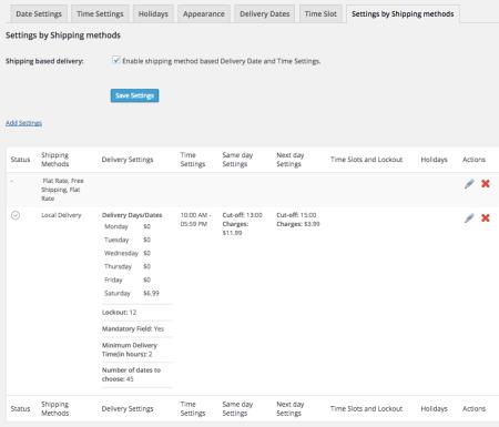 WooCommerce Order Delivery Date Per method settings
