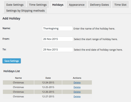 WooCommerce Order Delivery Date holiday settings