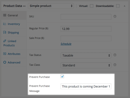 Free WooCommerce Extensions: prevent purchase setup