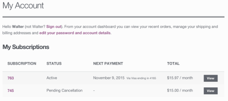 WooCommerce Subscriptions Review: Customer subscription list