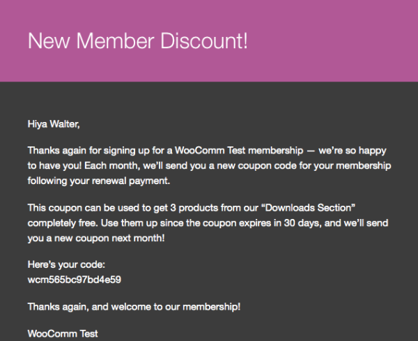 WooCommerce Subscriber Coupons: email example