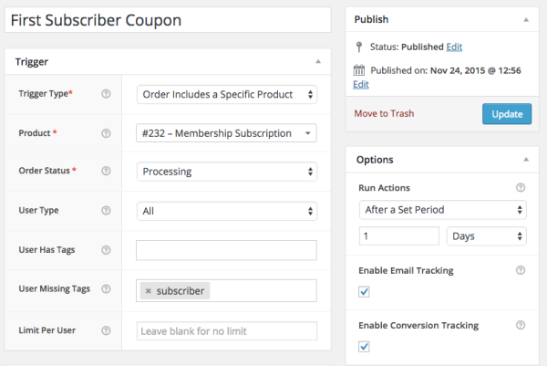 WooCommerce Subscriber Coupons: Subscription trigger