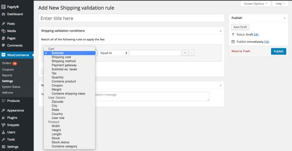 options shipping validation