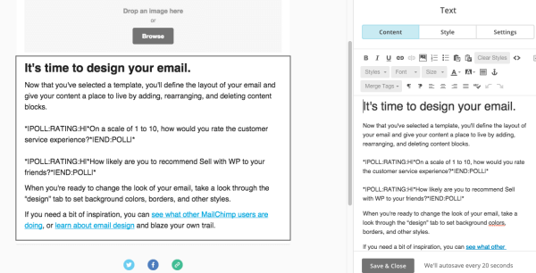 build mailchimp embed polls
