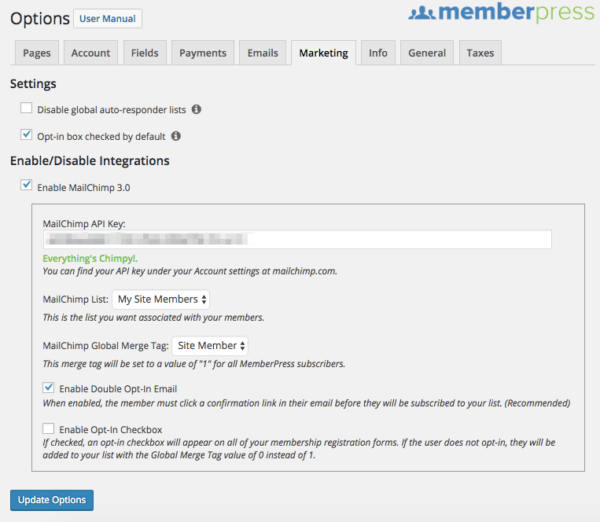Segment Member Emails: MemberPress MailChimp Settings