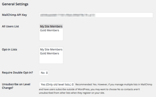 Paid Memberships Pro: MailChimp add on set up 1