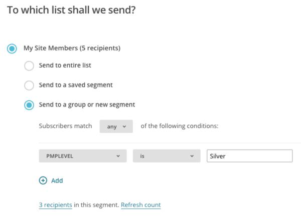 Paid Memberships Pro email segment