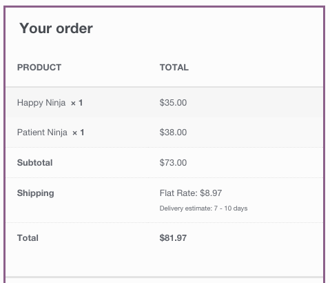 woocommerce shipping estimates range